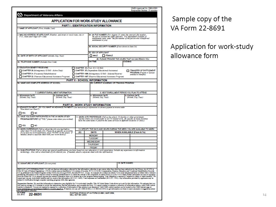 14 Sample copy of the VA Form 22-8691 Application for work-study allowance form
