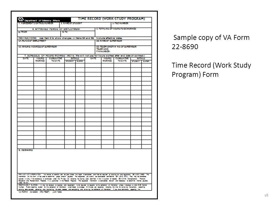 18 Sample copy of VA Form 22-8690 Time Record (Work Study Program) Form