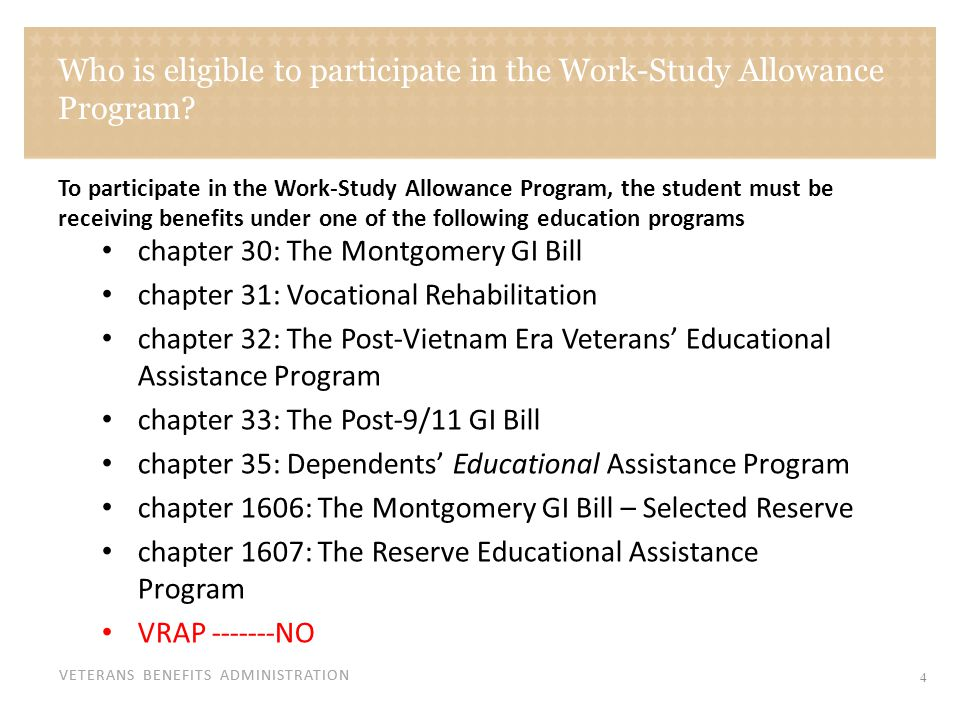 VETERANS BENEFITS ADMINISTRATION Who is eligible to participate in the Work-Study Allowance Program? chapter 30: The Montgomery GI Bill chapter 31: Vo