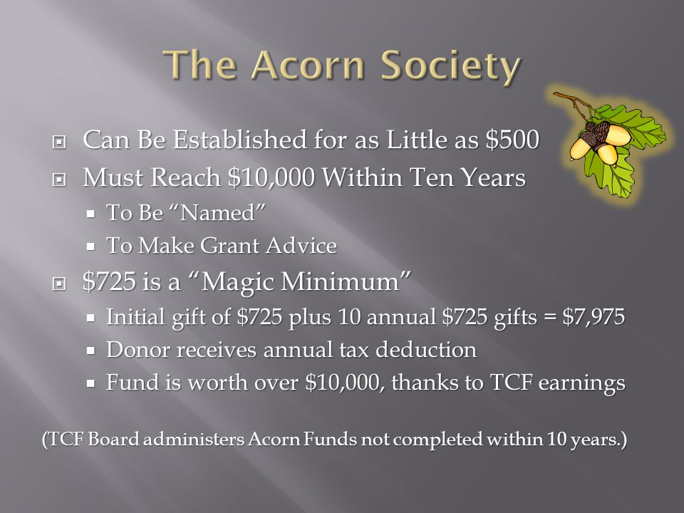  Can Be Established for as Little as $500  Must Reach $10,000 Within Ten Years  To Be Named  To Make Grant Advice  $725 is a Magic Minimum  Initial gift of $725 plus 10 annual $725 gifts = $7,975  Donor receives annual tax deduction  Fund is worth over $10,000, thanks to TCF earnings (TCF Board administers Acorn Funds not completed within 10 years.)