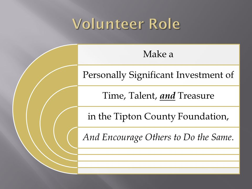 Make a Personally Significant Investment of Time, Talent, and Treasure in the Tipton County Foundation, And Encourage Others to Do the Same.