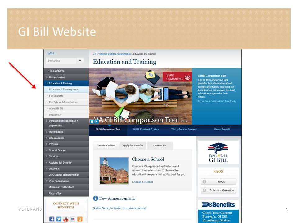 VETERANS BENEFITS ADMINISTRATION GI Bill Website 3