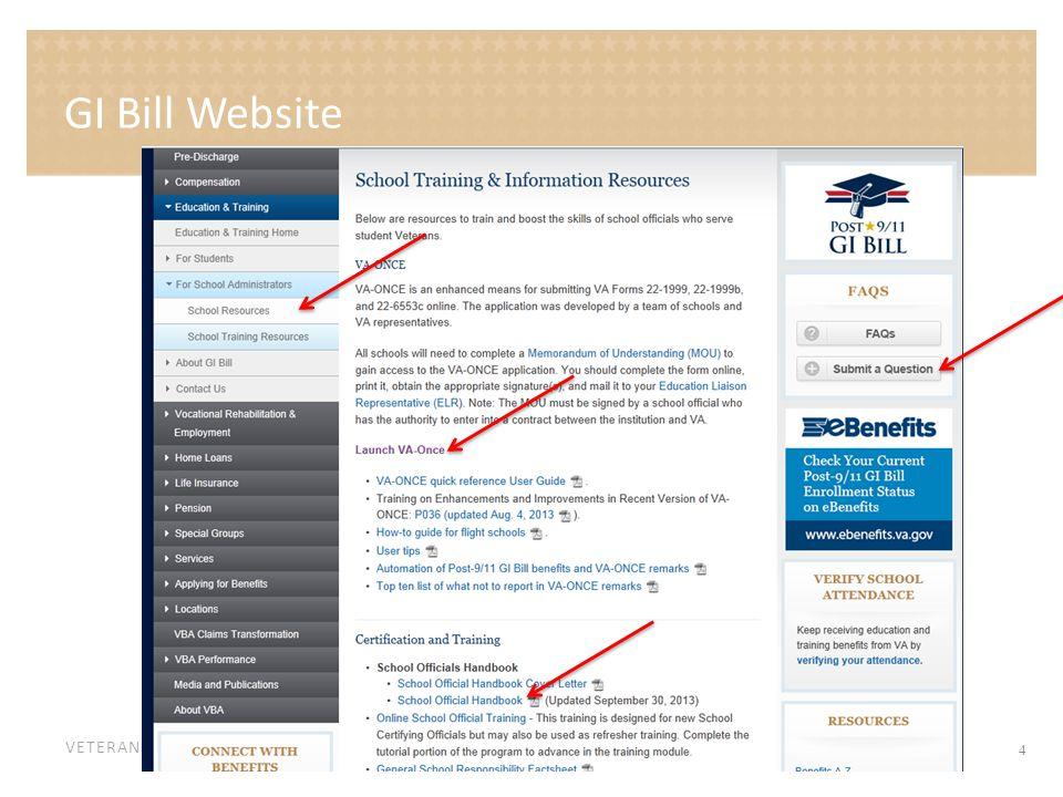 VETERANS BENEFITS ADMINISTRATION GI Bill Website 4