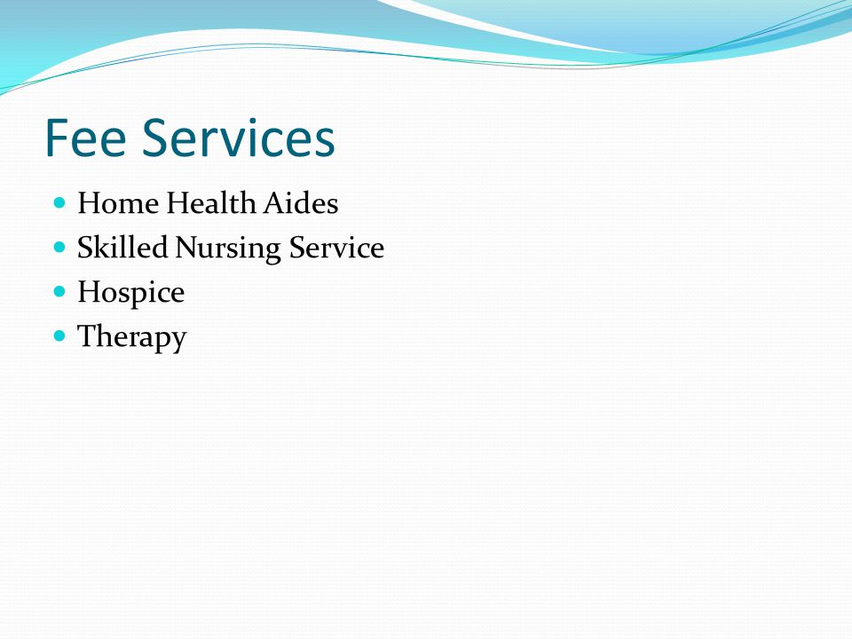 Fee Services Home Health Aides Skilled Nursing Service Hospice Therapy