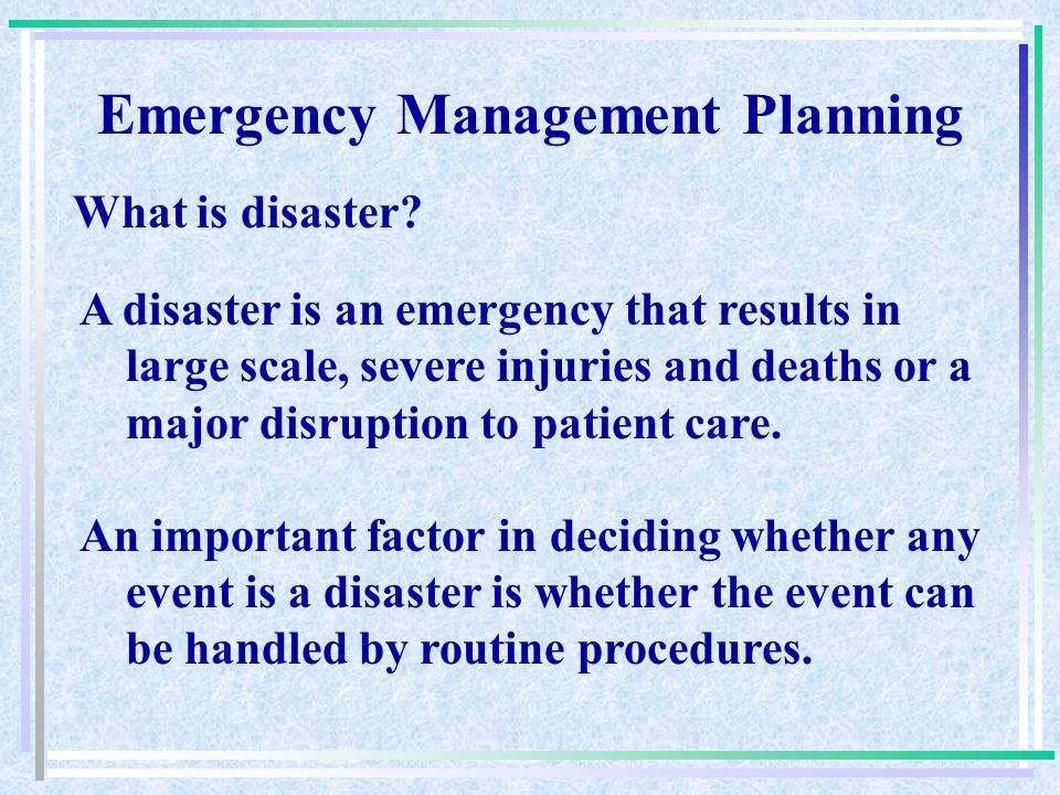 Emergency Management Planning Louis Stokes Cleveland, Department of Veterans Affairs Medical Center JCAHO Environment of Care Series Fiscal Year 2009