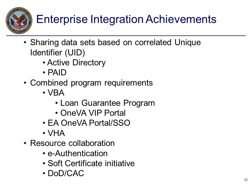 10 Sharing data sets based on correlated Unique Identifier (UID) Active Directory PAID Combined program requirements VBA Loan Guarantee Program OneVA