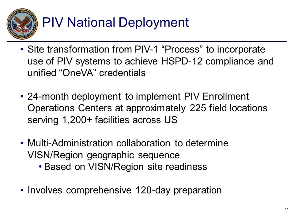 """11 Site transformation from PIV-1 """"Process"""" to incorporate use of PIV systems to achieve HSPD-12 compliance and unified """"OneVA"""" credentials 24-month d"""