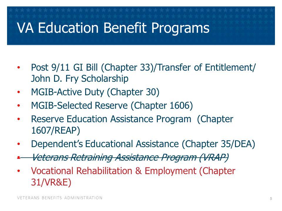 VETERANS BENEFITS ADMINISTRATION VA Education Benefit Programs Post 9/11 GI Bill (Chapter 33)/Transfer of Entitlement/ John D.