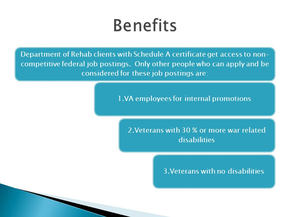 Department of Rehab clients with Schedule A certificate get access to non- competitive federal job postings.