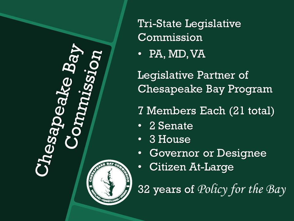 Chesapeake Bay Commission Tri-State Legislative Commission PA, MD, VA PA, MD, VA Legislative Partner of Chesapeake Bay Program 7 Members Each (21 total) 2 Senate 2 Senate 3 House 3 House Governor or Designee Governor or Designee Citizen At-Large Citizen At-Large 32 years of 32 years of Policy for the Bay