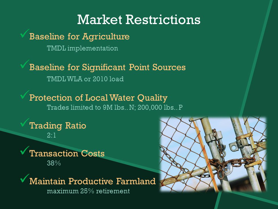 Market Restrictions Baseline for Agriculture TMDL implementation Baseline for Significant Point Sources TMDL WLA or 2010 load Protection of Local Water Quality Trades limited to 9M lbs..