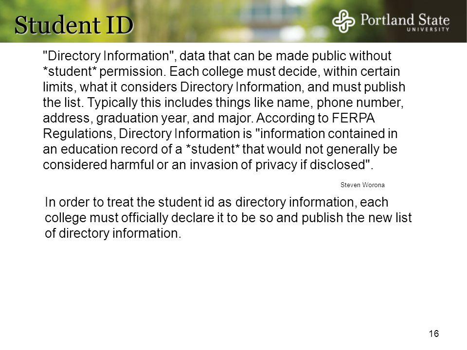 16 Student ID