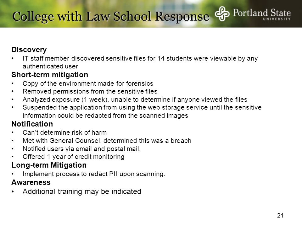 21 College with Law School Response College with Law School Response Discovery IT staff member discovered sensitive files for 14 students were viewabl