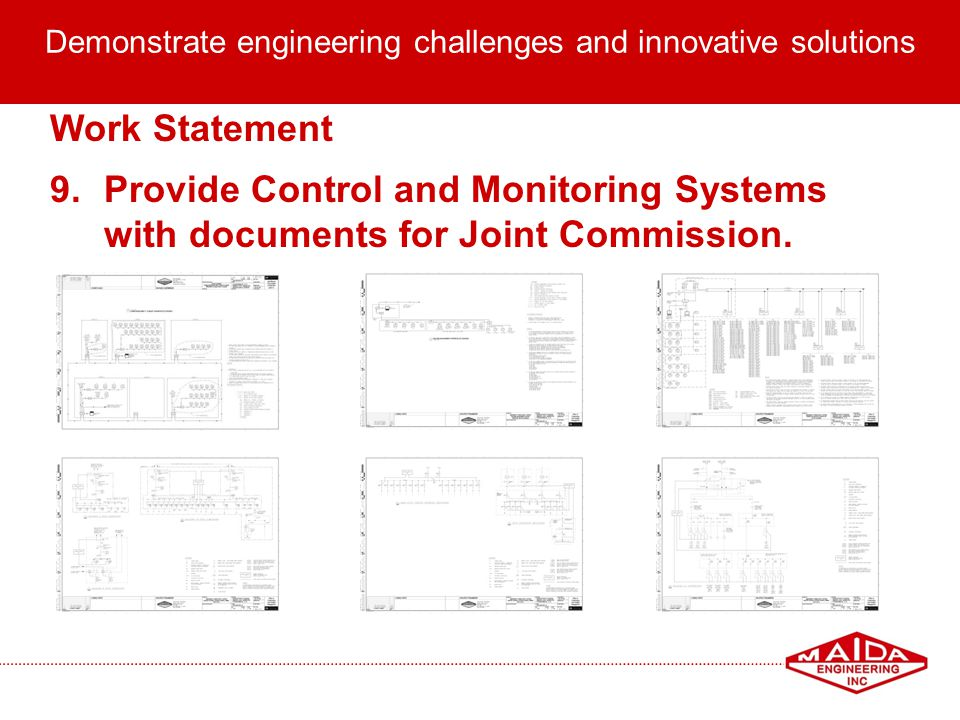 13 Demonstrate engineering challenges and innovative solutions Work Statement 9.Provide Control and Monitoring Systems with documents for Joint Commis