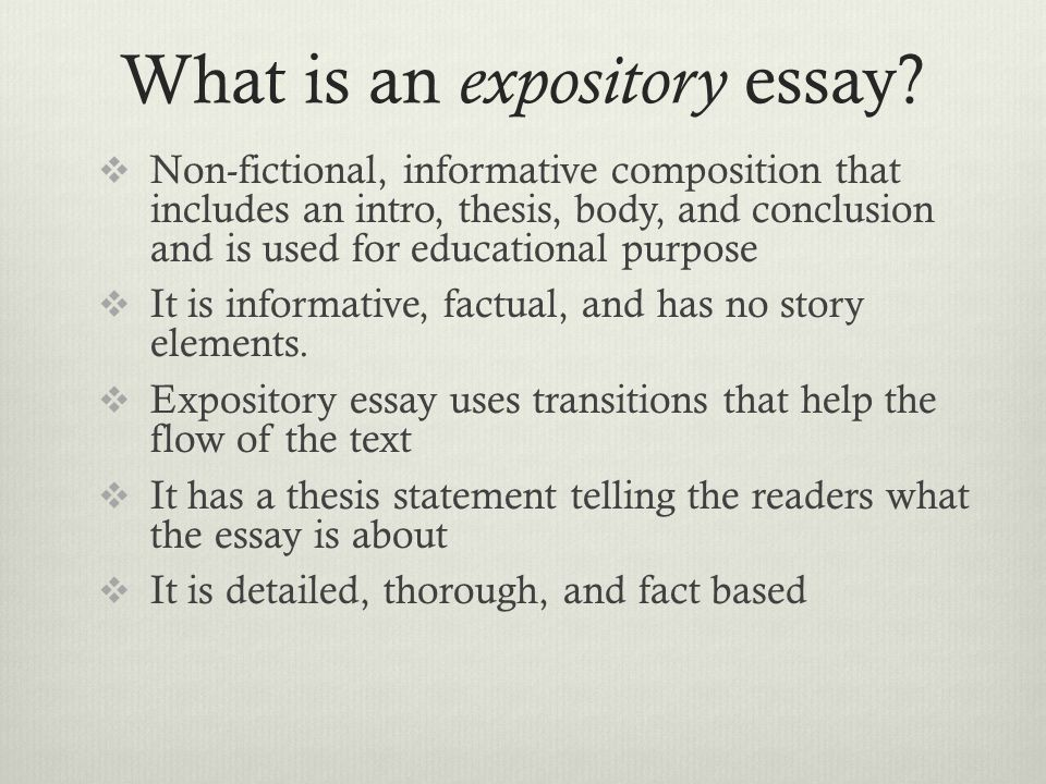 expository essay lesson Analysis of an expository essay students revisit the expository model from lesson 2 and now you will begin writing the first draft of your expository essay.