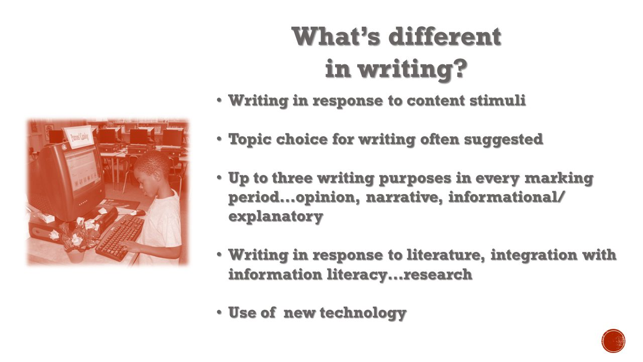 What's different in writing.