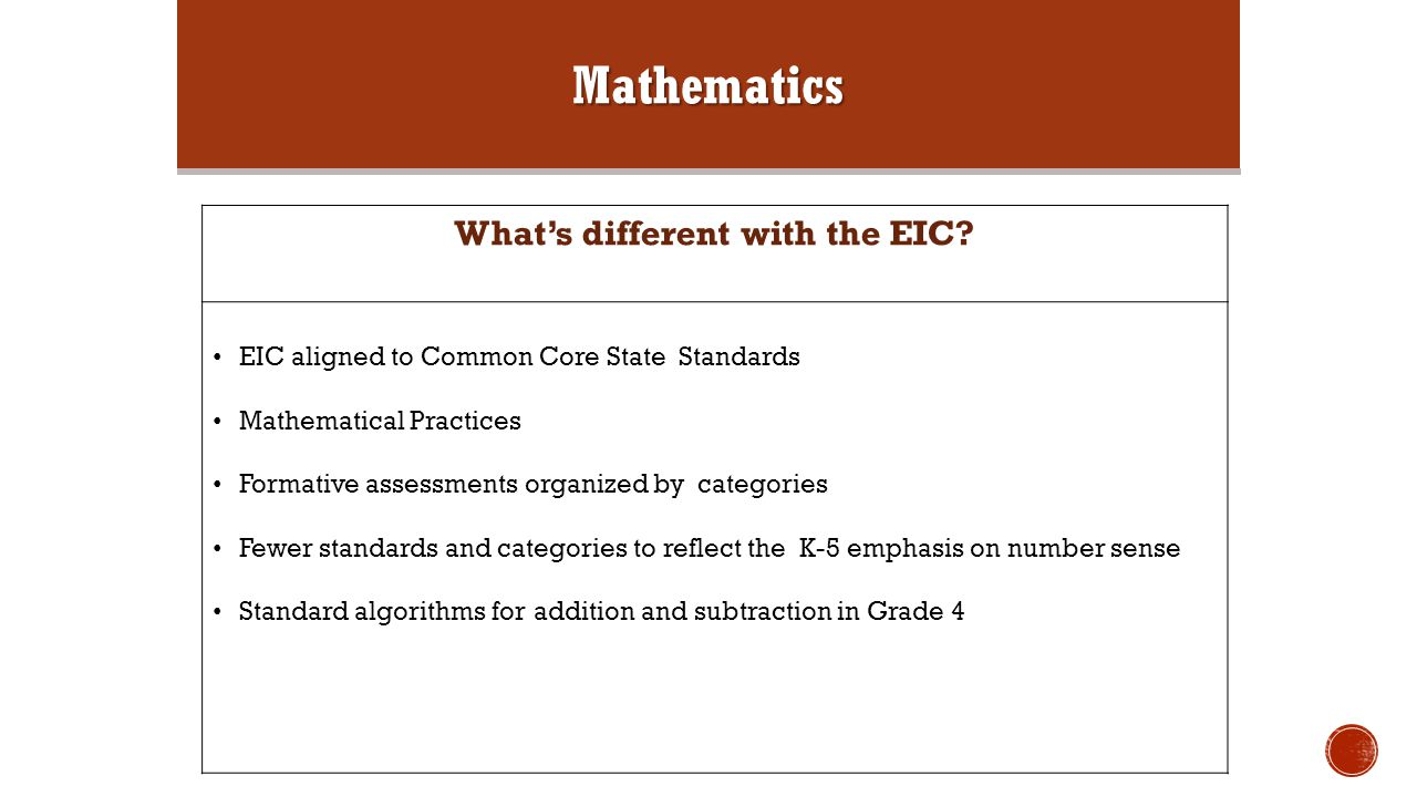 Mathematics What's different with the EIC.