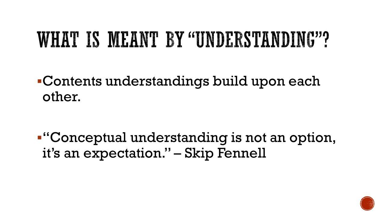  Contents understandings build upon each other.