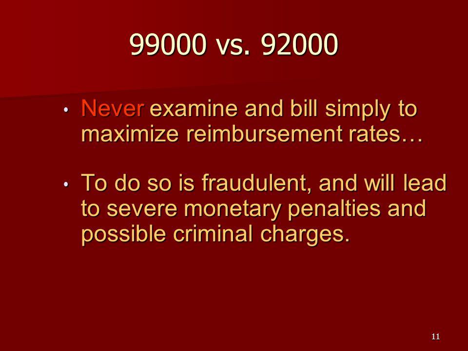 11 99000 vs. 92000 Never examine and bill simply to maximize reimbursement rates… Never examine and bill simply to maximize reimbursement rates… To do