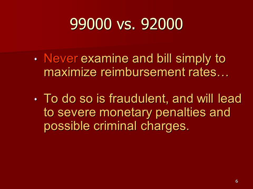 6 99000 vs. 92000 Never examine and bill simply to maximize reimbursement rates… Never examine and bill simply to maximize reimbursement rates… To do