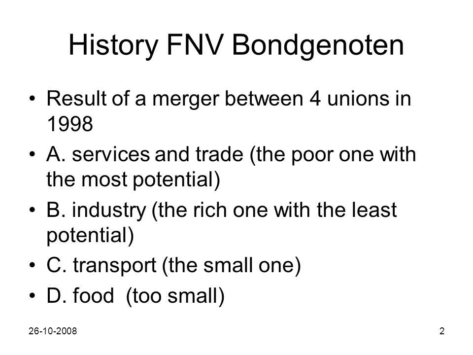 26-10-20082 History FNV Bondgenoten Result of a merger between 4 unions in 1998 A.