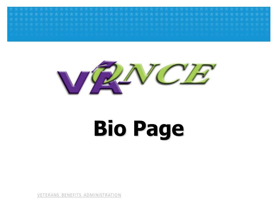 VETERANS BENEFITS ADMINISTRATION Bio Page