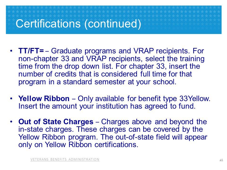 VETERANS BENEFITS ADMINISTRATION Certifications (continued) TT/FT= – Graduate programs and VRAP recipients. For non-chapter 33 and VRAP recipients, se