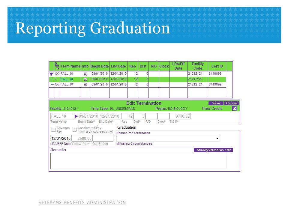 VETERANS BENEFITS ADMINISTRATION Reporting Graduation