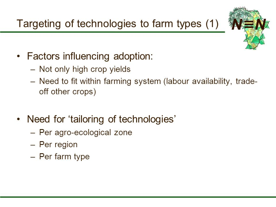 Targeting of technologies to farm types (1) Factors influencing adoption: –Not only high crop yields –Need to fit within farming system (labour availa