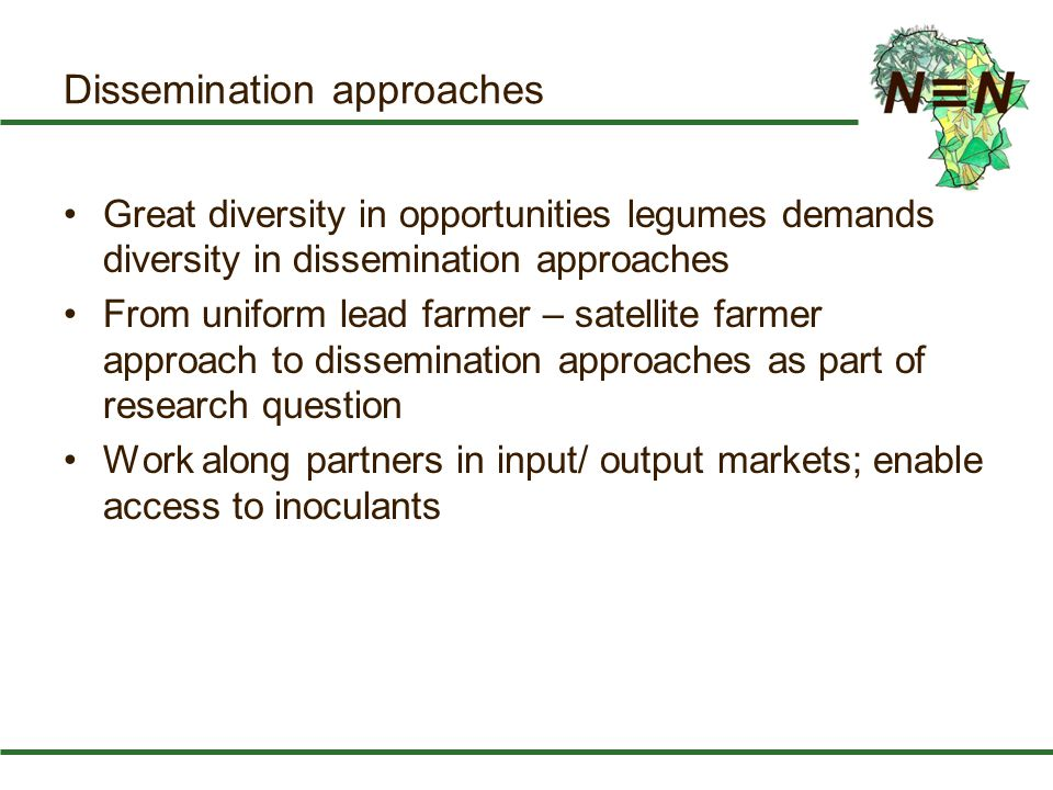 Dissemination approaches Great diversity in opportunities legumes demands diversity in dissemination approaches From uniform lead farmer – satellite f