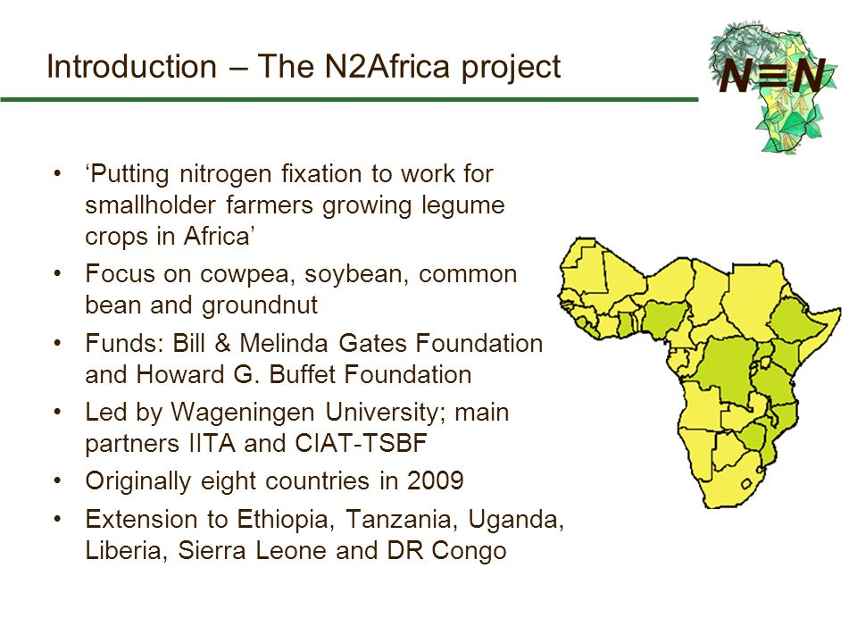 Introduction – The N2Africa project 'Putting nitrogen fixation to work for smallholder farmers growing legume crops in Africa' Focus on cowpea, soybean, common bean and groundnut Funds: Bill & Melinda Gates Foundation and Howard G.