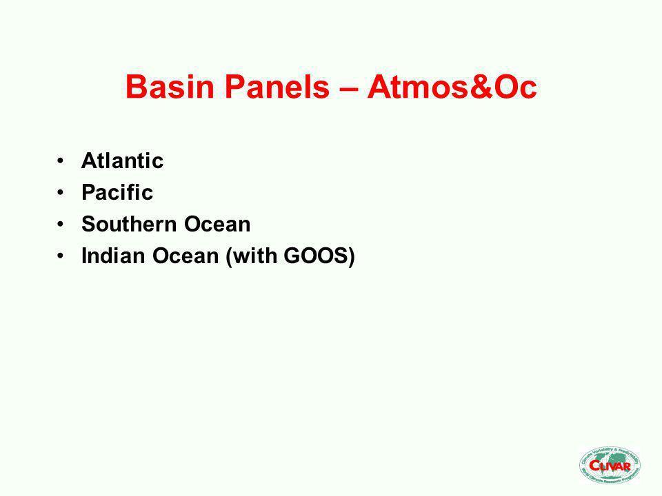 Basin Panels – Atmos&Oc Atlantic Pacific Southern Ocean Indian Ocean (with GOOS)