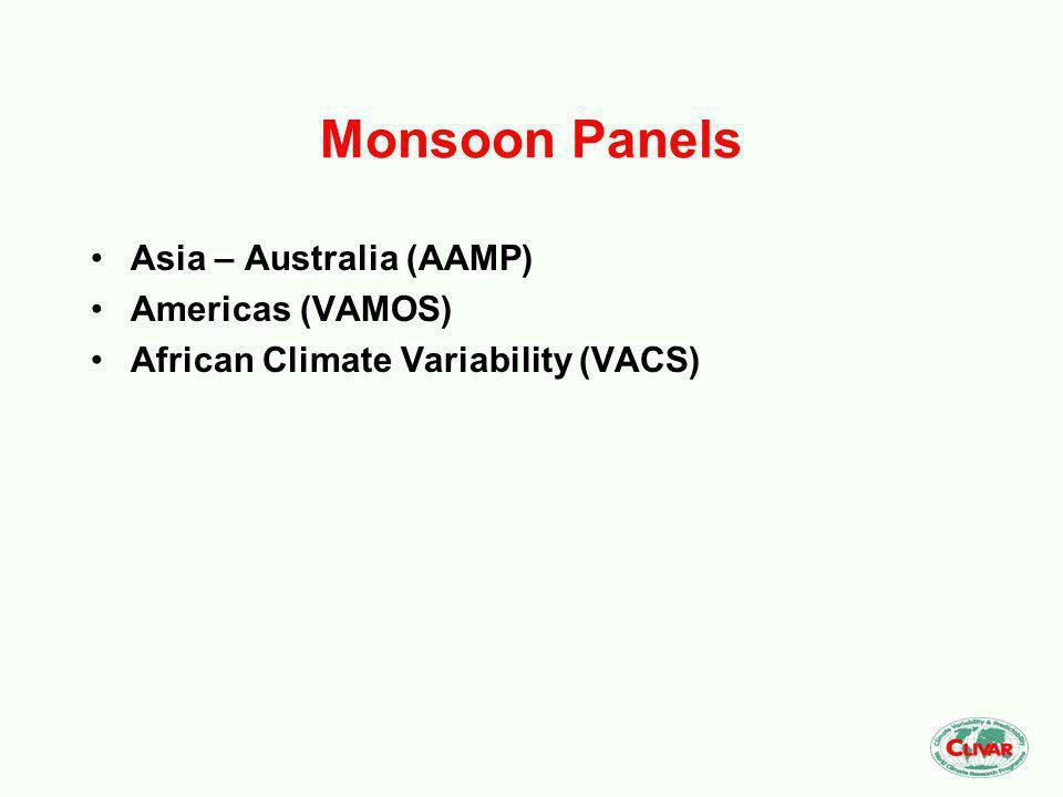 Monsoon Panels Asia – Australia (AAMP) Americas (VAMOS) African Climate Variability (VACS)