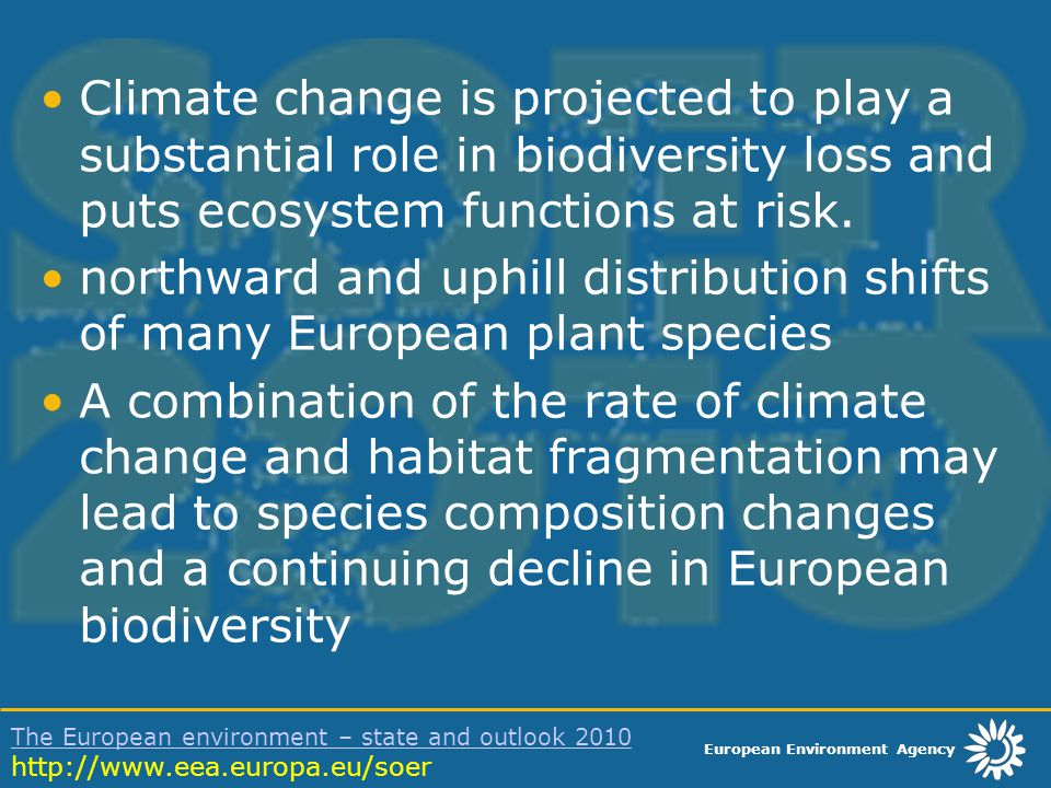 European Environment Agency The European environment – state and outlook 2010 The European environment – state and outlook 2010 http://www.eea.europa.eu/soer Climate change is projected to play a substantial role in biodiversity loss and puts ecosystem functions at risk.