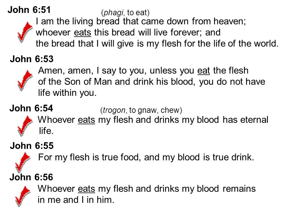 John 6:54 Whoever eats my flesh and drinks my blood has eternal life.
