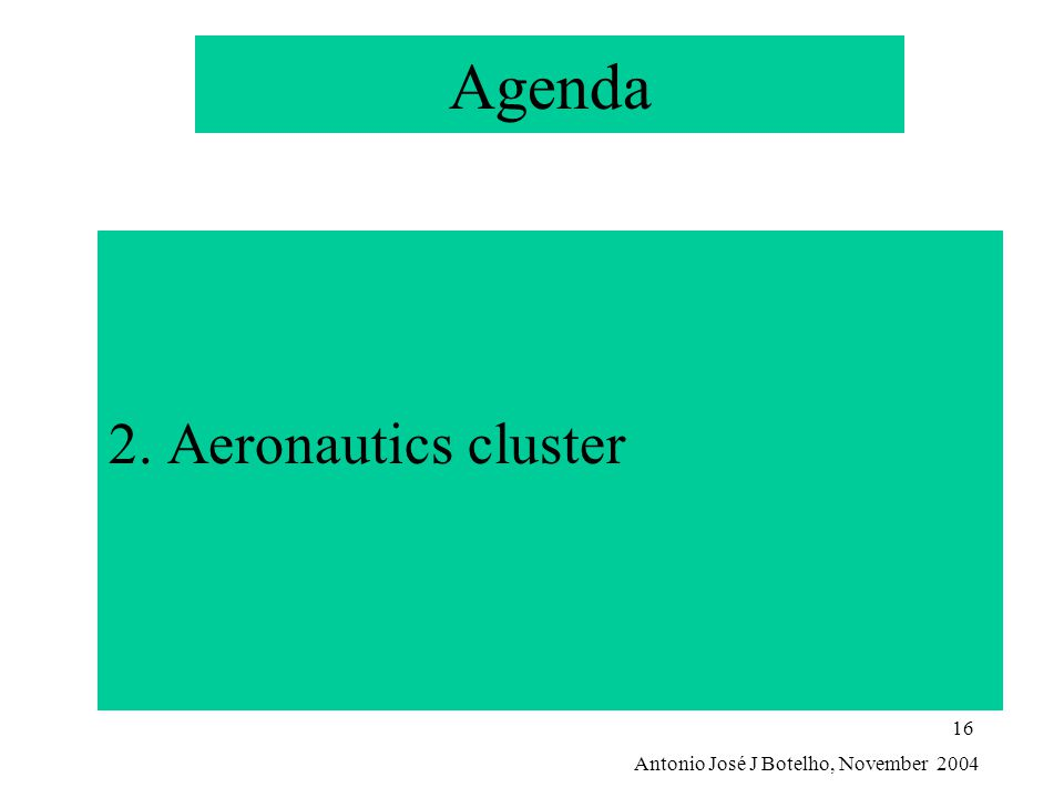 Antonio José J Botelho, November 2004 16 Agenda 2. Aeronautics cluster