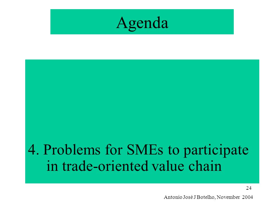 Antonio José J Botelho, November 2004 24 Agenda 4. Problems for SMEs to participate in trade-oriented value chain