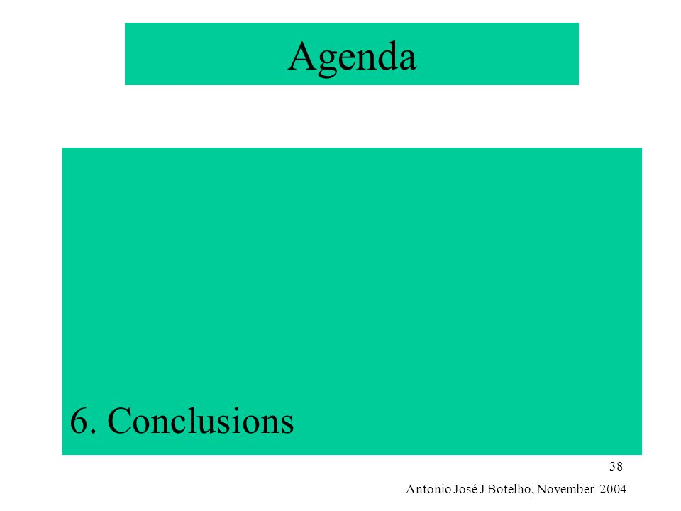 Antonio José J Botelho, November 2004 38 Agenda 6. Conclusions