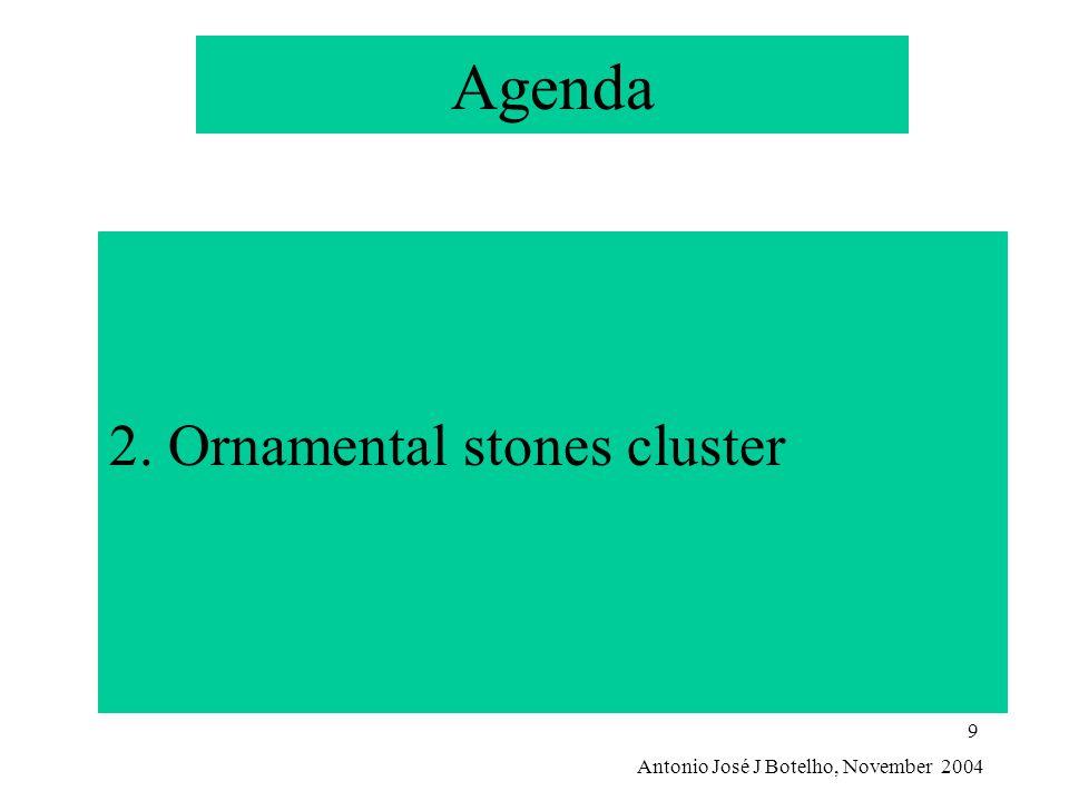 Antonio José J Botelho, November 2004 9 Agenda 2. Ornamental stones cluster