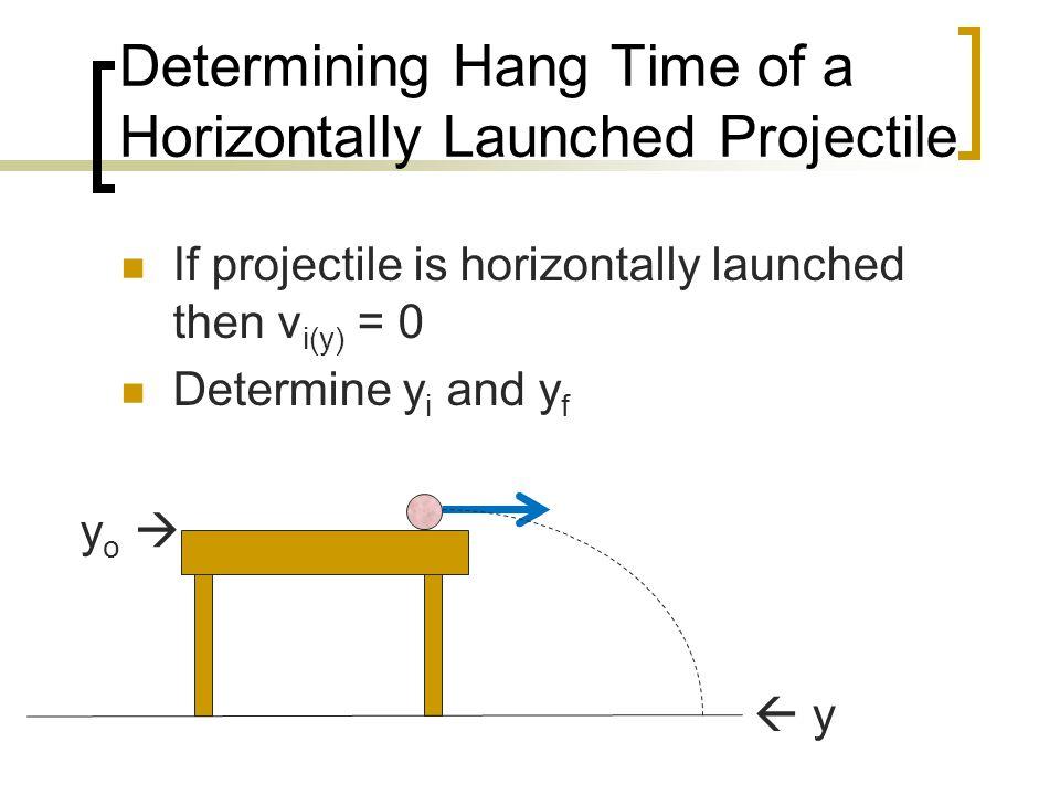 Determining Hang Time of a Horizontally Launched Projectile If projectile is horizontally launched then v i(y) = 0 Determine y i and y f yo yo   y
