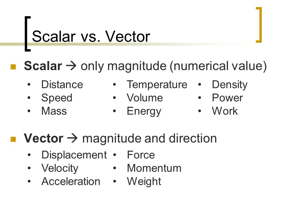Scalar vs. Vector Scalar  only magnitude (numerical value) Vector  magnitude and direction Distance Speed Mass Temperature Volume Energy Density Pow