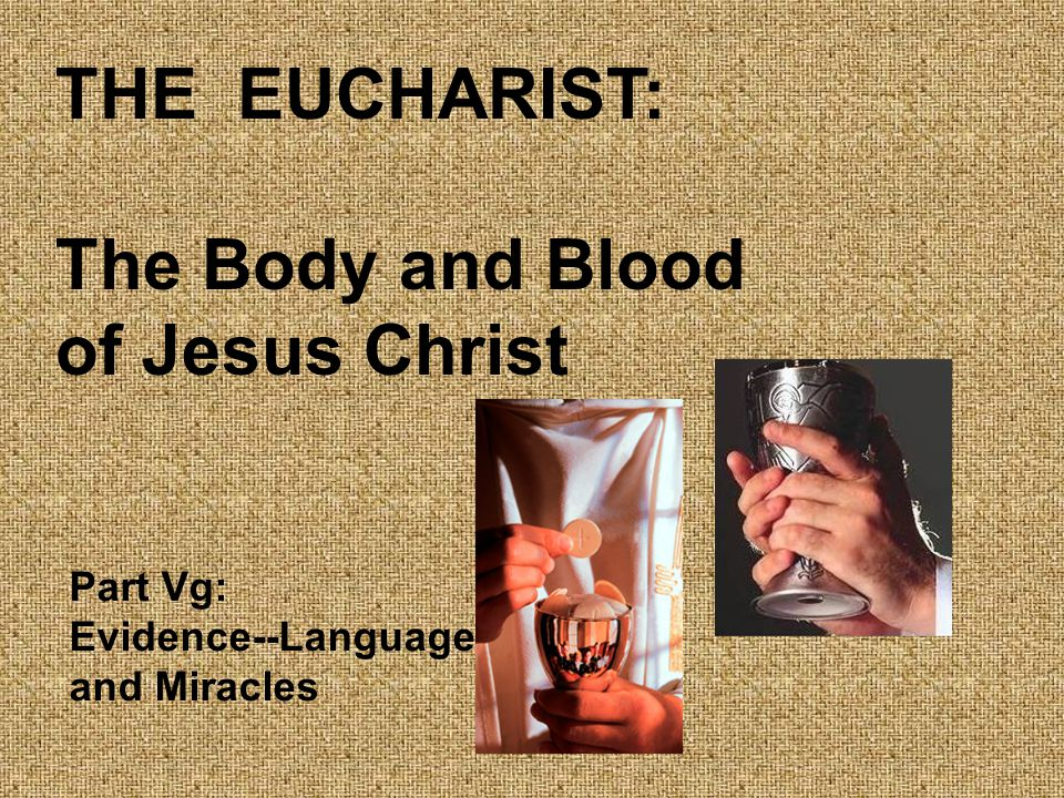 THE EUCHARIST: The Body and Blood of Jesus Christ Part Vg: Evidence--Language and Miracles