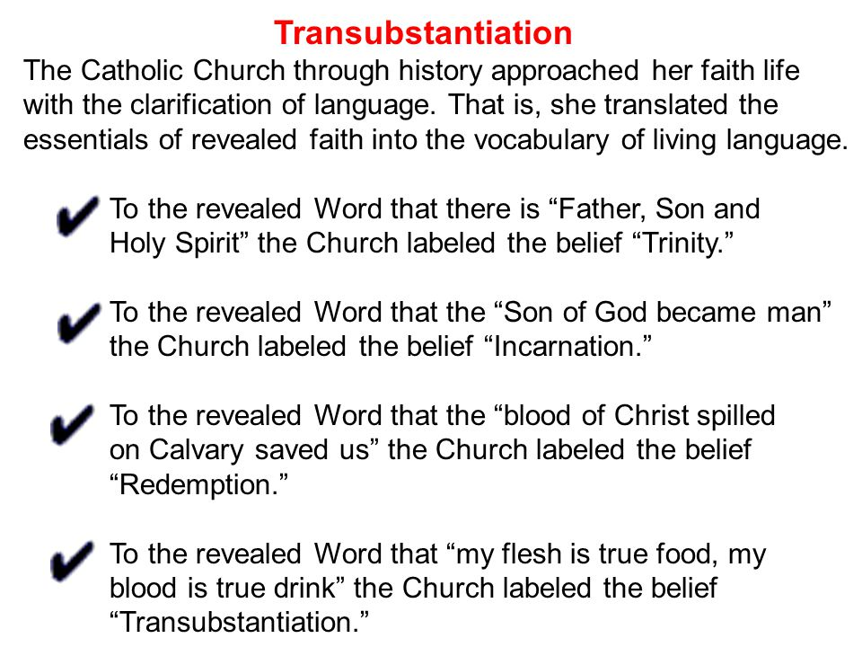 Transubstantiation The Catholic Church through history approached her faith life with the clarification of language.