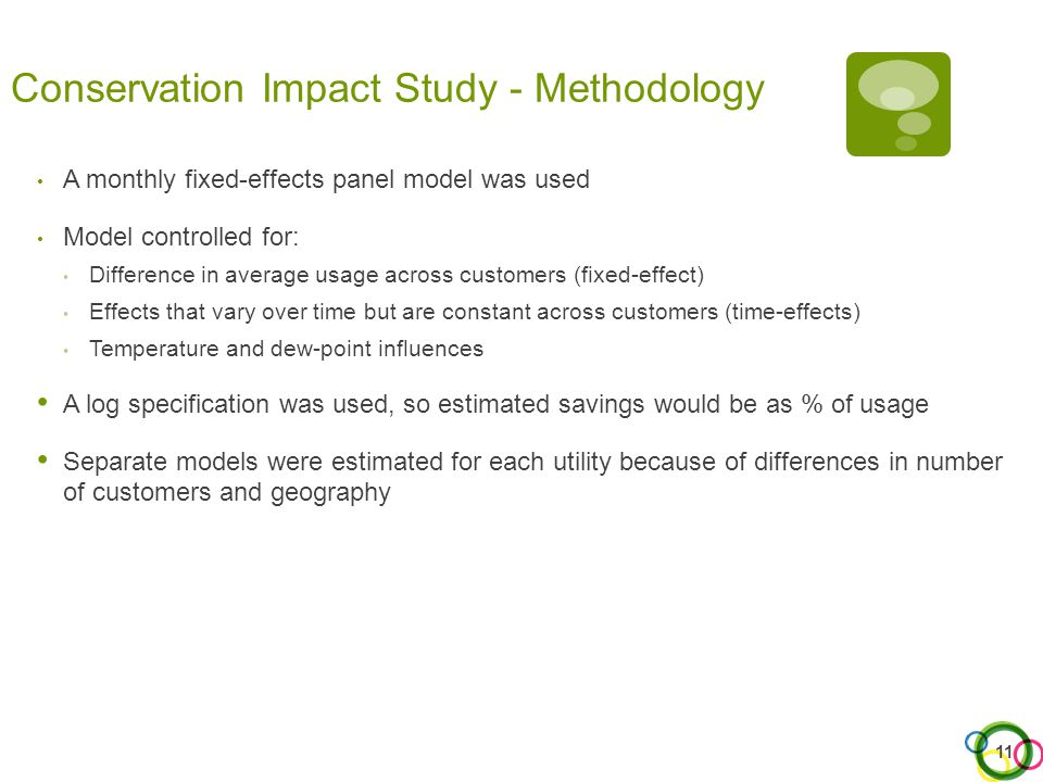 Conservation Impact Study - Methodology A monthly fixed-effects panel model was used Model controlled for: Difference in average usage across customer