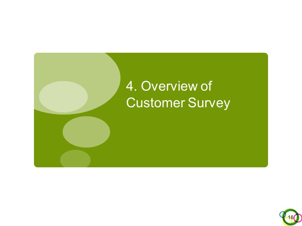 4. Overview of Customer Survey 16