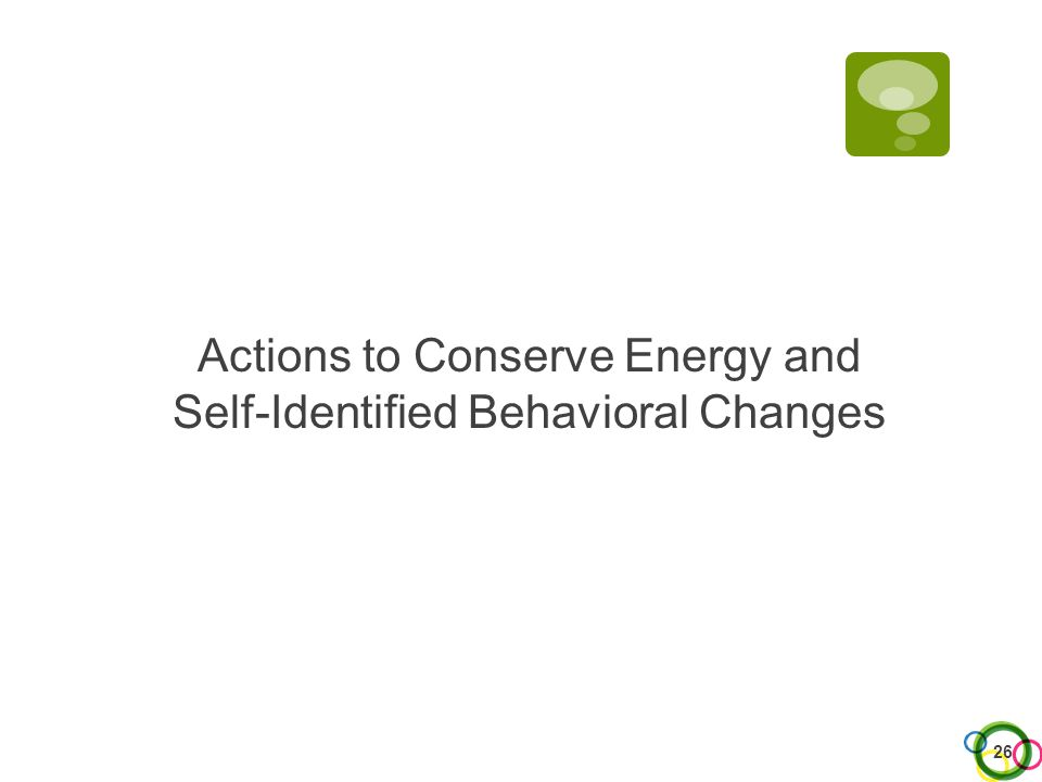 Actions to Conserve Energy and Self-Identified Behavioral Changes 26