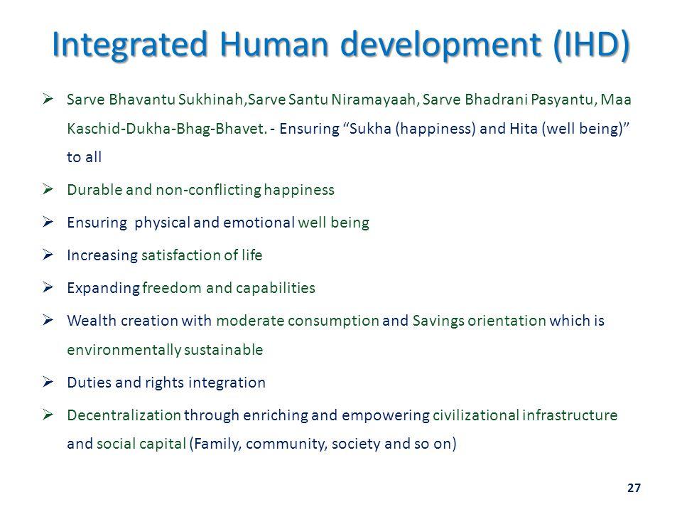 Integrated Human development (IHD)  Sarve Bhavantu Sukhinah,Sarve Santu Niramayaah, Sarve Bhadrani Pasyantu, Maa Kaschid-Dukha-Bhag-Bhavet. - Ensurin
