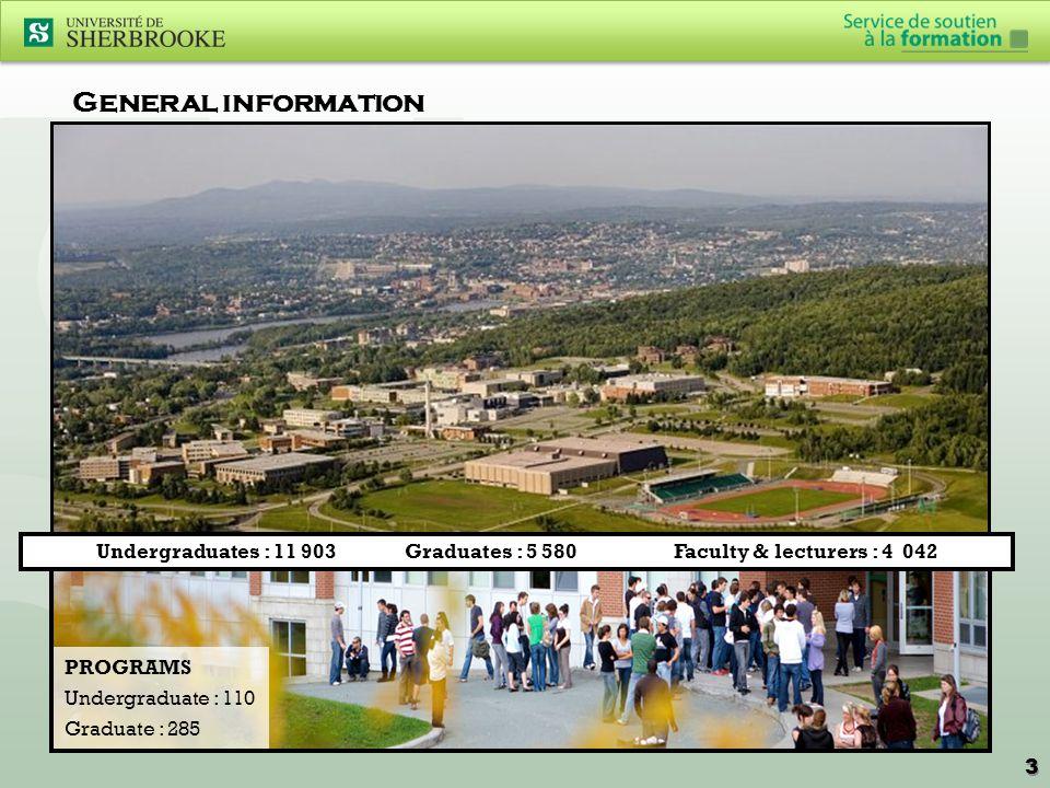General information Undergraduates : 11 903 Graduates : 5 580 Faculty & lecturers : 4 042 PROGRAMS Undergraduate : 110 Graduate : 285 3 3