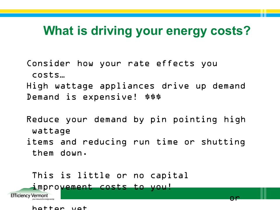 What is driving your energy costs.
