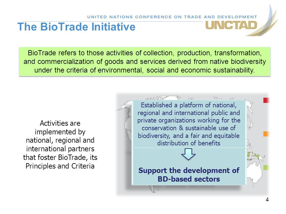 The BioTrade Initiative 4 BioTrade refers to those activities of collection, production, transformation, and commercialization of goods and services derived from native biodiversity under the criteria of environmental, social and economic sustainability.